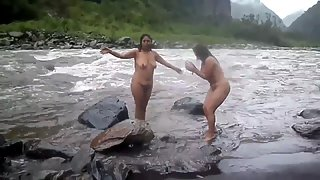 Indian MILF's Taking Open Air Shower In A River